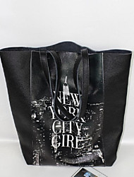 NewYork Girl Women Cowhide,  fashion women leather shoulder bag / Tote - Black