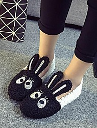 Women's Shoes Fleece Flat Heel Ballerina / Round Toe Flats Outdoor / Casual Black / Pink / White