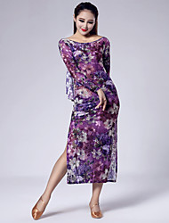High-quality Printed Velvet with Ruffles Latin Dance Dresses for Women's Performance (More Colors)