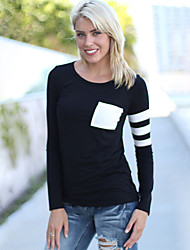 Women's Casual/Daily Simple Fall T-shirt,Patchwork Round Neck Long Sleeve Red / Black / Gray Cotton Medium