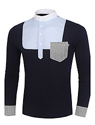 Men's Solid Casual / Work / Formal Shirt,Others Long Sleeve Blue / White