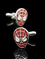 Fashion Copper Men Gift Jewelry Silver Plated Spider Men Shirt Button Cufflinks(1Pair)