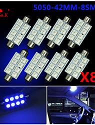 8x 41mm blau 5050 8SMD Kuppel Karte Innengirlande LED-Lampen de3423 6418