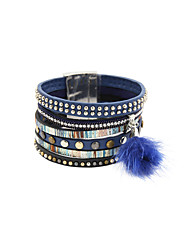 Fashion Women Vintage Multi Row Magnet Buckle Leather Bracelet