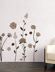 Brown Flowers Corner Line Stickers Wall