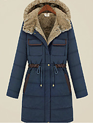 Winter Women's Solid Color Green plus size Coats & Jackets , Sexy / Casual / Work Pan Collar Long Sleeve