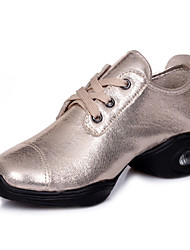 Modern Women's Dance Shoes Sneakers Breathable Synthetic Low Heel Black/Gold/Silver