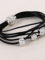 Lureme®Fashion Drill Ball Woven PU Women's Crystal Bracelets