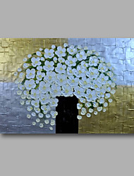 "Ready to hang Stretched Hand-Painted Oil Painting 36""x24"" on Canvas Wall Art Abstract Heavy Oils White Blossom"