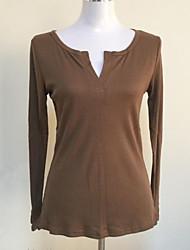 Damen Solide Einfach Lässig/Alltäglich T-shirt,V-Ausschnitt Herbst Langarm Schwarz / Braun / Grau / Grün Polyester Dünn