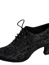 Latin Women's Dance Shoes Heels Synthetic Cuban Heel Black
