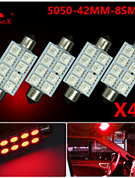 4 X RED 41MM 5050 8SMD Festoon Dome Map Interior LED Light bulbs DE3423 6418