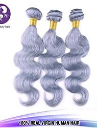 Pelo gris 3pcs / lot extensión del pelo gris extensiones de cabello recta brasileña virginal del pelo humano de platino plata teje