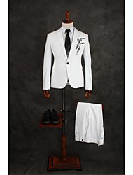 Suits Tailored Fit Slim Peak Single Breasted One-button Cotton Blend Solid 2 Pieces White