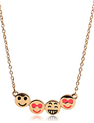 New Fashion Japan & Korea 18K Gold Plated Smiling Face Clavicle Chain Pendant Necklace for Women