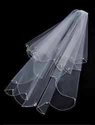Wedding Veil Two-tier Fingertip Veils Beaded Edge / Scalloped Edge Tulle White / Ivory