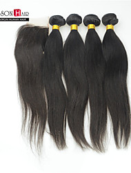5 Pcs/Lot Natural Color Straight Hair 4 Pcs Brazilian Hair Bundles with 1Pc Top Closure Mixed Lengths