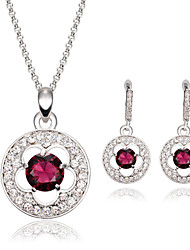 Women Wedding Bridal Round Silver Flower With Amethyst Necklace Earrings Two-piece