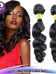 venta caliente 300g / lot 8-26inch onda peruana virginal del pelo suelto de color negro del pelo humano sin procesar teje.