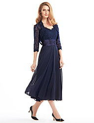 A-line Mother of the Bride Dress Tea-length 3/4 Length Sleeve Chiffon / Lace with Lace