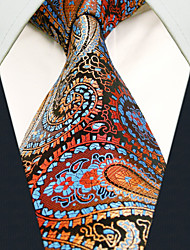 Men's Necktie Tie Paisley Burgundy 100% Silk Business Dress