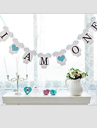 I AM ONE +2 Hearts Baby Boy Girl 1st Birthday Party Banner Hanging Decorations with Ribbon