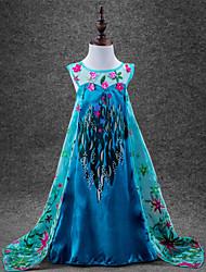 Vestido Chica deFloral-Algodón / Poliéster-Todas las Temporadas-Azul