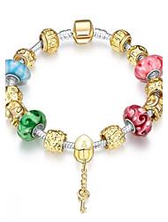 Vintage Sweet Women's Stoving Varnish Rhinestones Glass Silver Plated Tin Alloy Charm Bracelet(Multicolor)(1Pc)