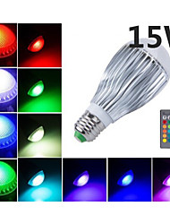 15W E26/E27 LED Kugelbirnen B 5 Integriertes LED 1000 lm RGB Ferngesteuert / Dekorativ AC 85-265 V 1 Stück