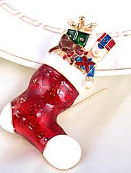 "Fashion Elegant ""Christmas Stockings""Full Rhinestone Alloy M's Brooch For Woman&Lady"
