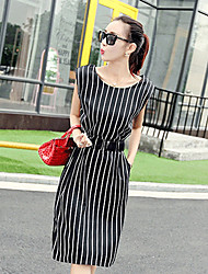 Women's Vintage / Casual / Work Striped Swing Dress , Round Neck Knee-length Chiffon