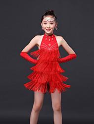 Dança Latina Vestidos Crianças Actuação Poliéster 3 Peças Sem Mangas Alto Vestido Luvas