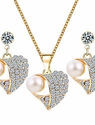 Fashion Heart Shape Rhinestone Shining Jewelry Set(Necklace&Earring)