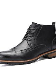 Черный / Коричневый Мужская обувь На каждый день Дерматин Ботинки