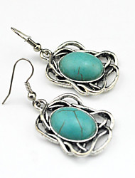 Vintage Look Antique Silver Alloy Oval Flower Turquoise Stone Dangle Earring(1Pair)