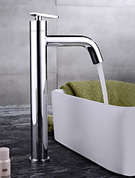 Contemporary Centerset Single Handle One Hole in Chrome Bathroom Sink Faucet