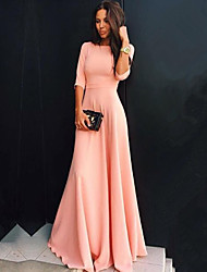 Women's Hot Sale Solid SLim Party Fashion Pink Dress , Casual / Maxi Round Neck ¾ Sleeve