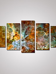 Paisagem Paisagens Abstratas Mapas Tradicional,5 Painéis Horizontal Estampado Decoração de Parede For Decoração para casa