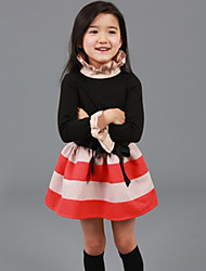 Girl's Black / Gray Dress , Dot Polyester Spring / Fall
