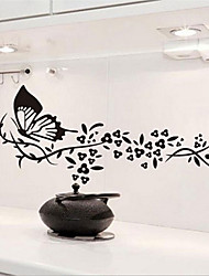 Black Butterfly And Flower Wall Stickers