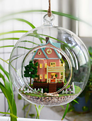 Romantic Glass Fans You Hut Assembled Toy House DIY Wood Dollhouse Including All Furniture Lights Lamp LED