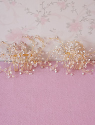 Women's / Flower Girl's Rhinestone Headpiece-Wedding / Special Occasion Hair Combs 2 Pieces