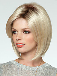 High Quality Blonde Mix Color Synthetic Wig Side Bang