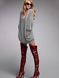 Damen Solide Einfach Lässig/Alltäglich T-shirt,V-Ausschnitt Herbst Langarm Blau / Rosa / Schwarz / Grau Polyester Dünn