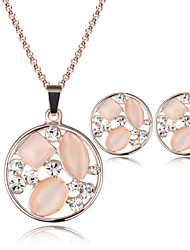 Jewelry Set Opal Crystal Rose Gold Gold Wedding Party 1set 1 Pair of Earrings Necklaces Wedding Gifts
