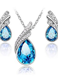 High Quality Crystal Water Drop Jewelry Set Necklace Earring (Assorted Color)