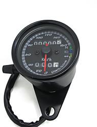 12v preto motocicleta scooter de velocímetro medidor hodômetro 0-160km / h moto luz de fundo medidor de velocidade dupla com indicador