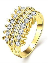 Fashion Decent Women's  Inlay White Zircon Gold-Plated Brass Statement Rings(Golden,Rose Gold,)(1Pcs)
