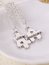 New Arrival Puzzle Best Friends Rhinestone Pendant Necklace(2pcs/set)
