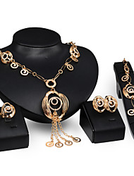 Jewelry Set Alloy Statement Jewelry Gold Wedding Party 1set 1 Pair of Earrings 1 Bracelet Necklaces Rings Wedding Gifts